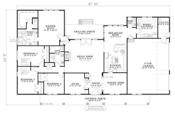 Architectural House Design - Southern Floor Plan - Main Floor Plan #17-638