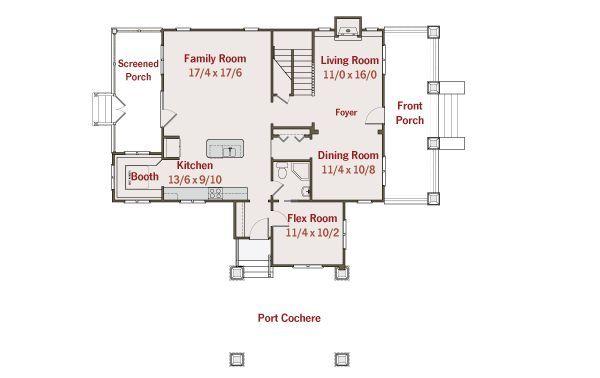 Craftsman Floor Plan - Main Floor Plan Plan #461-30