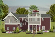 Home Plan Design - Craftsman, Rear Elevation, RV Garage