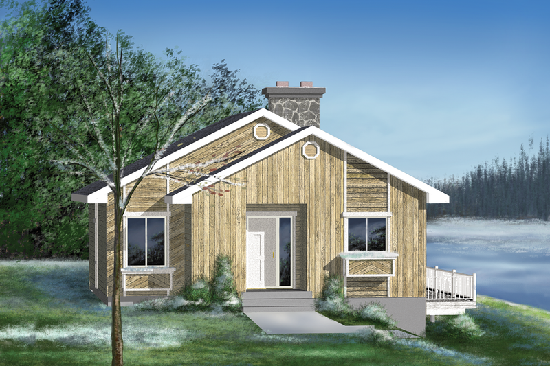 Cabin Style House Plan - 2 Beds 1 Baths 946 Sq/Ft Plan #25-1119 Exterior - Front Elevation