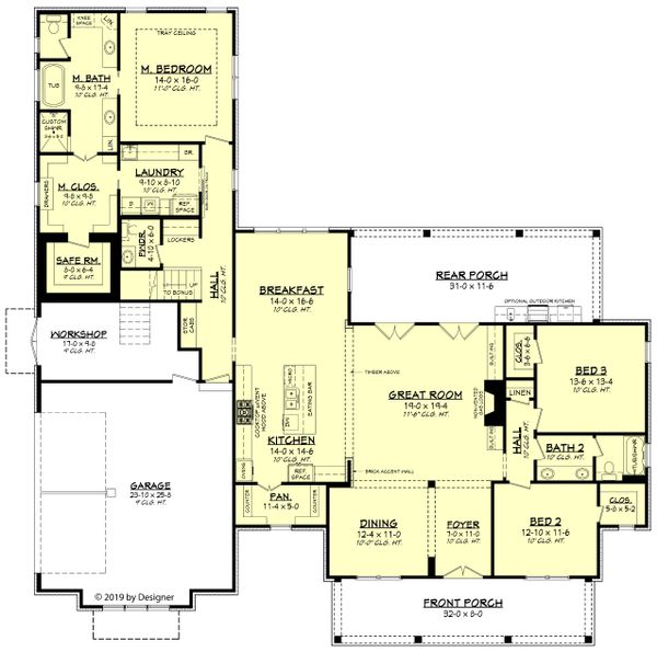 House Plan Design - Farmhouse Floor Plan - Main Floor Plan #430-191