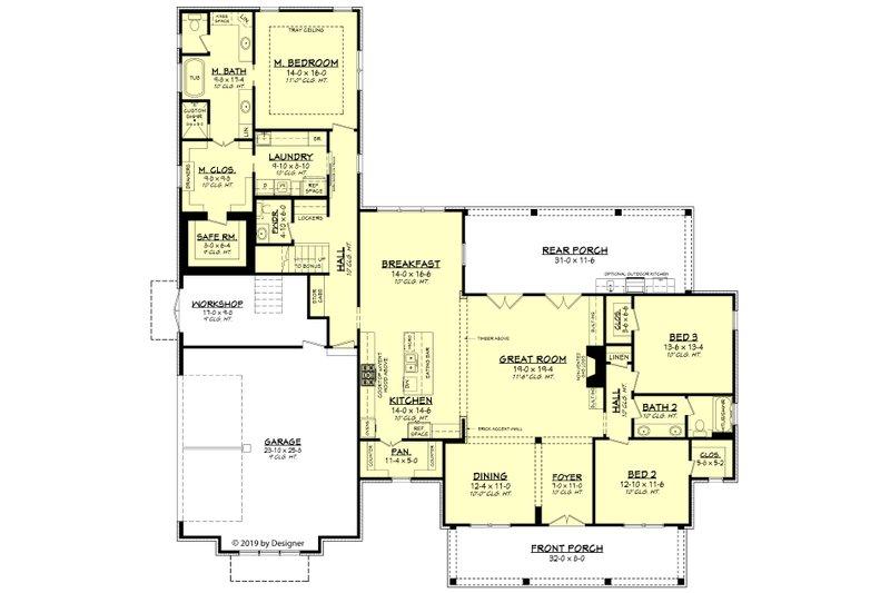 Farmhouse Floor Plan - Main Floor Plan Plan #430-191