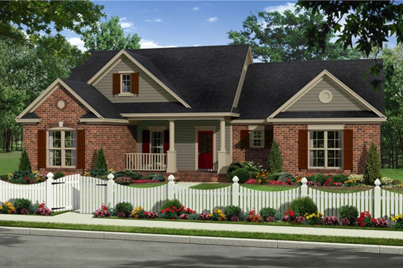 Country Style House Plan - 3 Beds 2 Baths 1720 Sq/Ft Plan #21-340 Exterior - Front Elevation