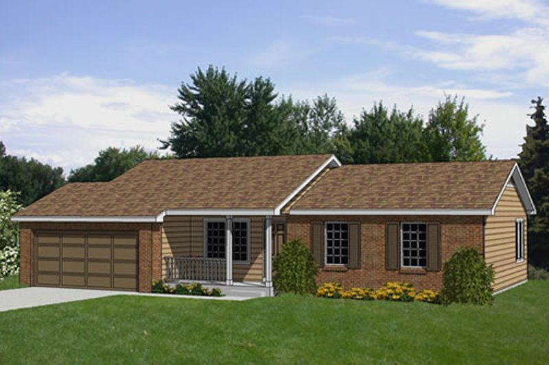Ranch Style House Plan - 3 Beds 2 Baths 1130 Sq/Ft Plan #116-166 Exterior - Front Elevation