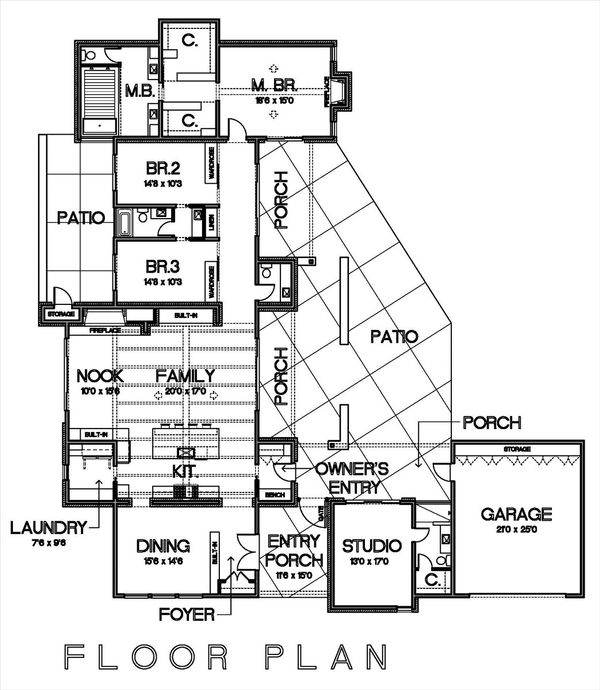 Modern Style House Plan - 3 Beds 3.5 Baths 3392 Sq/Ft Plan #449-15 Floor Plan - Main Floor Plan