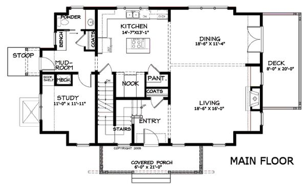Craftsman Floor Plan - Main Floor Plan Plan #434-5