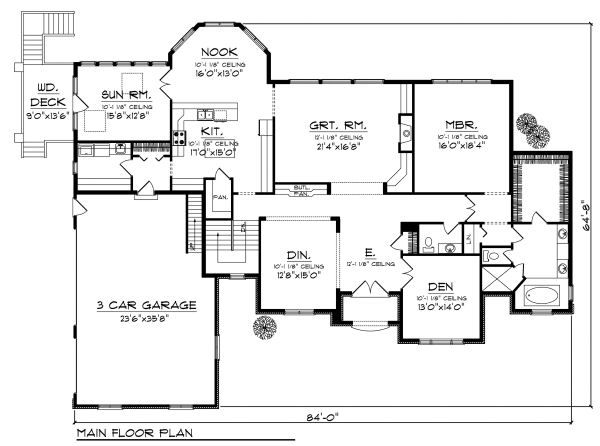 European Floor Plan - Main Floor Plan Plan #70-889
