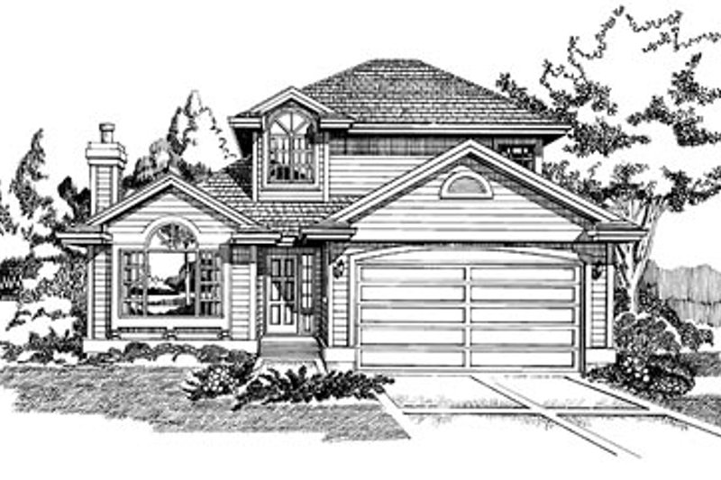 Traditional Style House Plan - 3 Beds 2.5 Baths 1835 Sq/Ft Plan #47-180 Exterior - Front Elevation