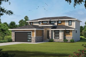 House Blueprint - Contemporary Exterior - Front Elevation Plan #20-2429