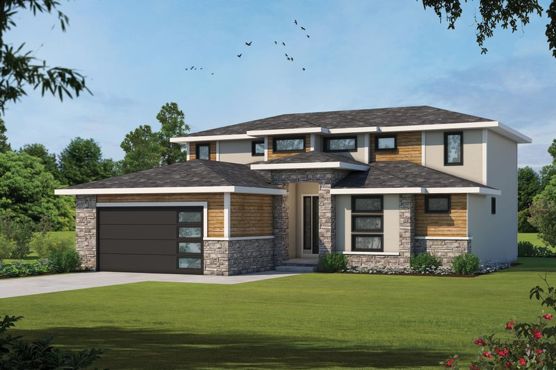 Home Plan - Contemporary Exterior - Front Elevation Plan #20-2429