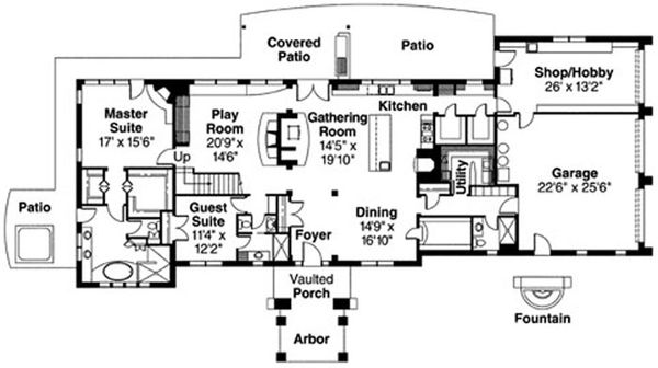 Mediterranean Floor Plan - Main Floor Plan Plan #124-711