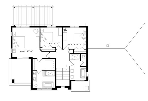 Modern Floor Plan - Upper Floor Plan Plan #23-2309