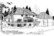 European Style House Plan - 4 Beds 3.5 Baths 3532 Sq/Ft Plan #312-720 Exterior - Rear Elevation