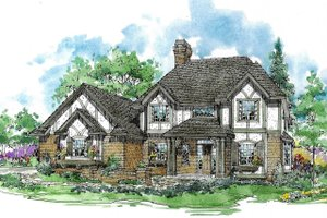 Tudor Exterior - Front Elevation Plan #970-10