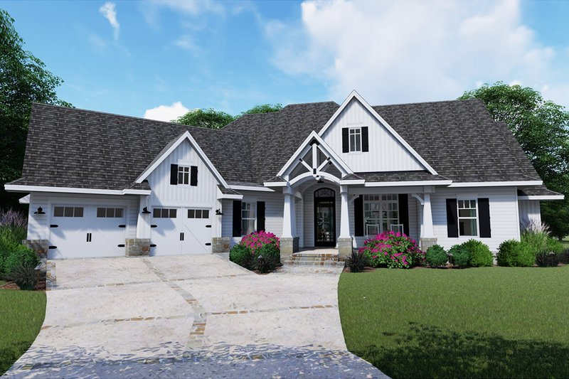 Dream House Plan - Farmhouse Exterior - Front Elevation Plan #120-255