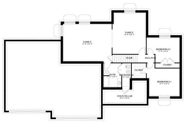 Traditional Floor Plan - Lower Floor Plan #1060-62