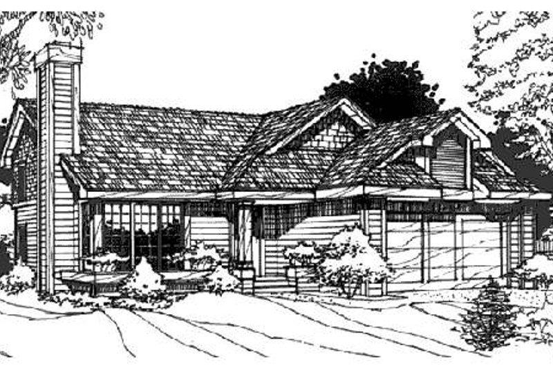 Bungalow Exterior - Front Elevation Plan #320-338