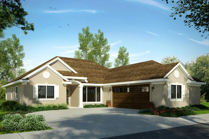 Mediterranean Style House Plan - 3 Beds 2 Baths 1839 Sq/Ft Plan #124-1021