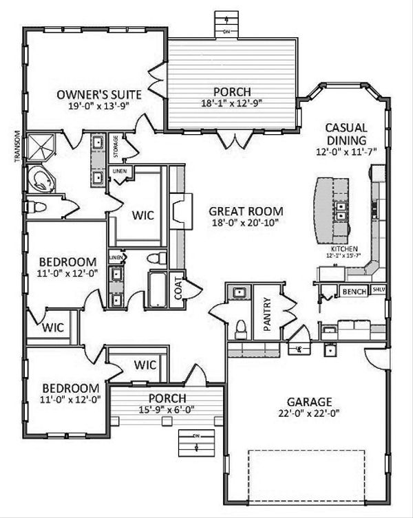 Ranch Floor Plan - Main Floor Plan Plan #898-42