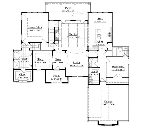 European Floor Plan - Main Floor Plan Plan #1071-17