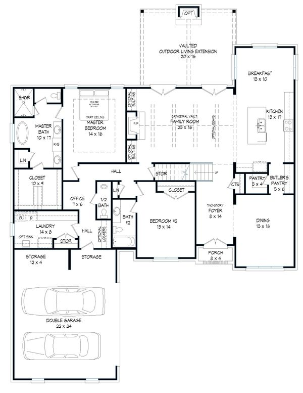 Dream House Plan - Southern Floor Plan - Main Floor Plan #932-340