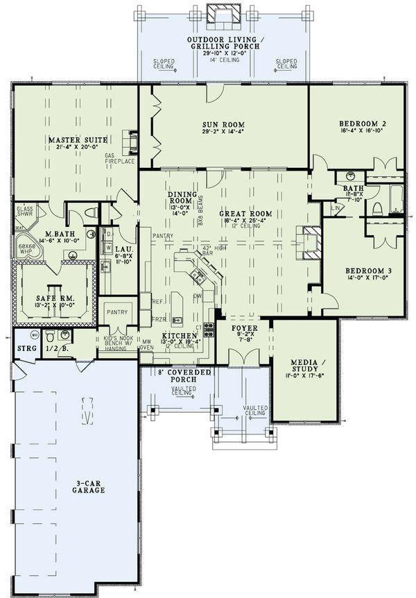 House Plan Design - Craftsman Floor Plan - Main Floor Plan #17-2487