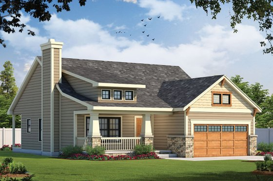 Cottage Exterior - Front Elevation Plan #20-1205