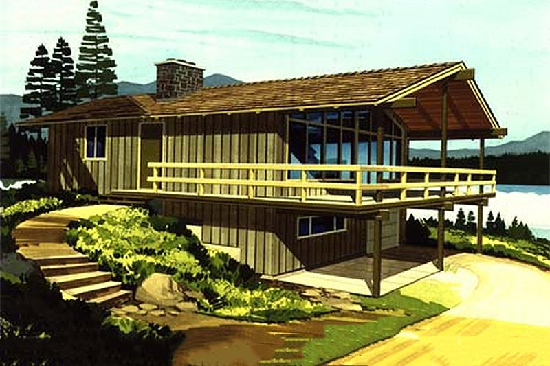 Cabin Exterior - Front Elevation Plan #320-404