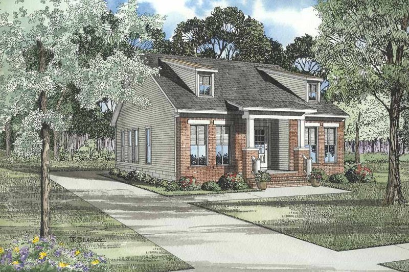 Southern Style House Plan - 3 Beds 2 Baths 1259 Sq/Ft Plan #17-439 Exterior - Front Elevation