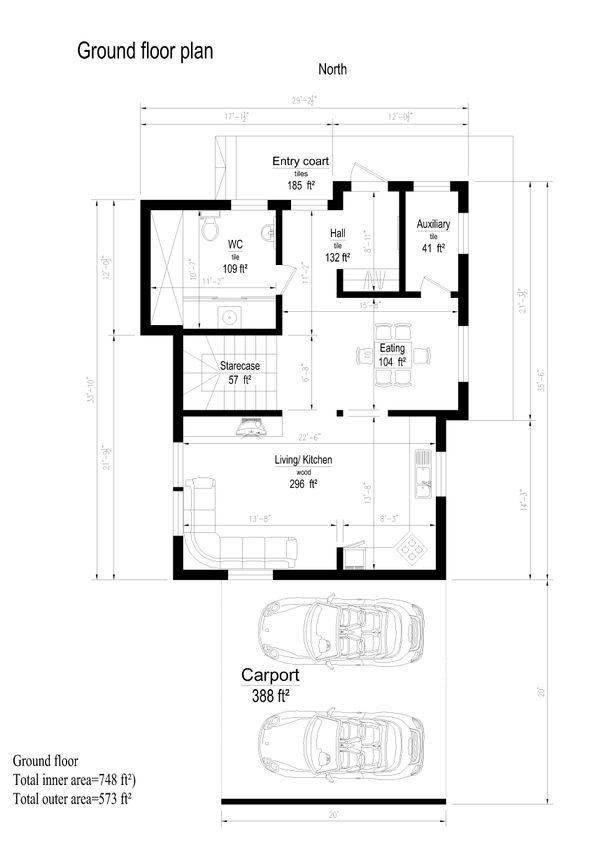 Modern Style House Plan - 3 Beds 1 Baths 2060 Sq/Ft Plan #549-13 Floor Plan - Main Floor Plan