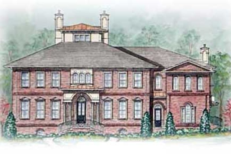 Colonial Style House Plan - 5 Beds 5.5 Baths 5713 Sq/Ft Plan #54-125 Exterior - Front Elevation