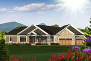 Ranch Style House Plan - 2 Beds 3 Baths 3418 Sq/Ft Plan #70-1232 Exterior - Front Elevation