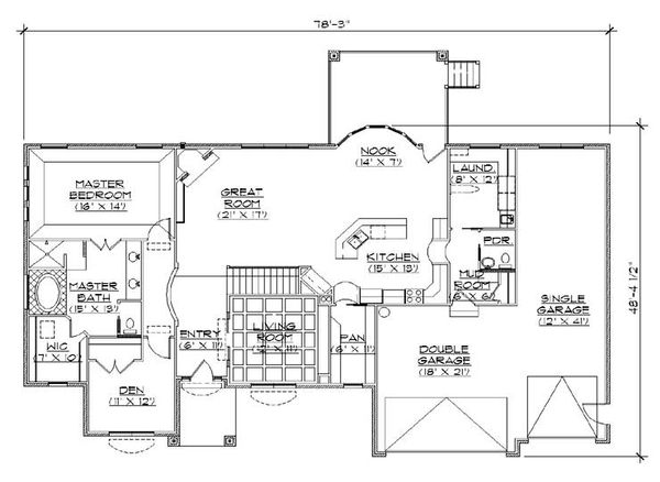 House Plan Design - Traditional Floor Plan - Main Floor Plan #5-267