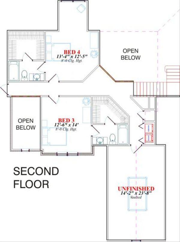 Traditional Floor Plan - Upper Floor Plan #63-132