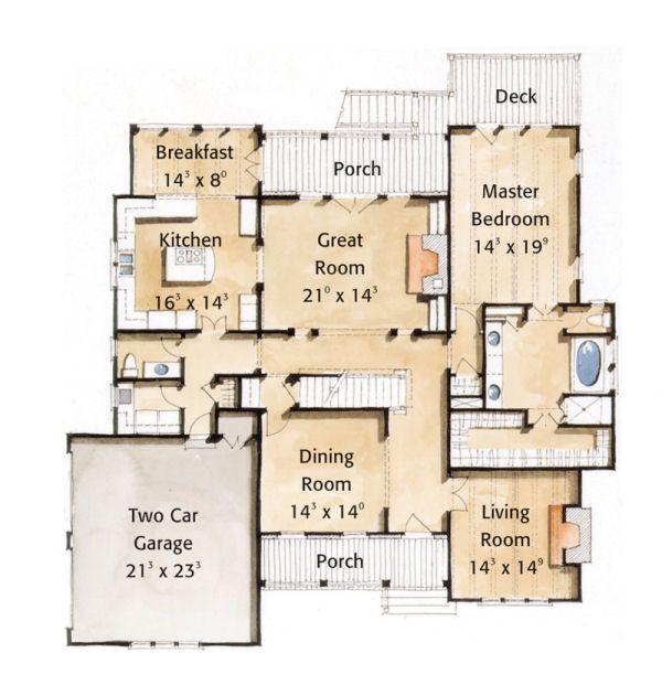 Farmhouse Style House Plan - 4 Beds 3.5 Baths 3398 Sq/Ft Plan #429-35 Floor Plan - Main Floor Plan
