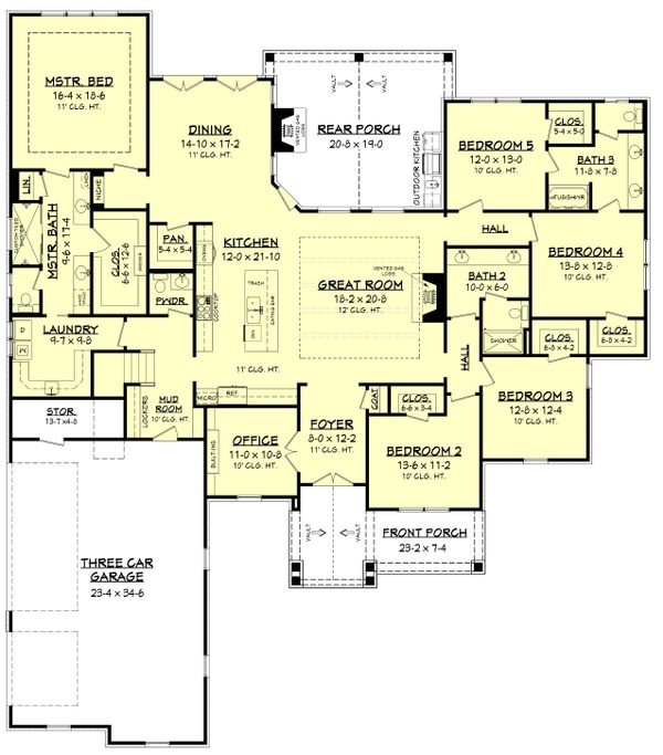 Craftsman Floor Plan - Main Floor Plan Plan #430-179