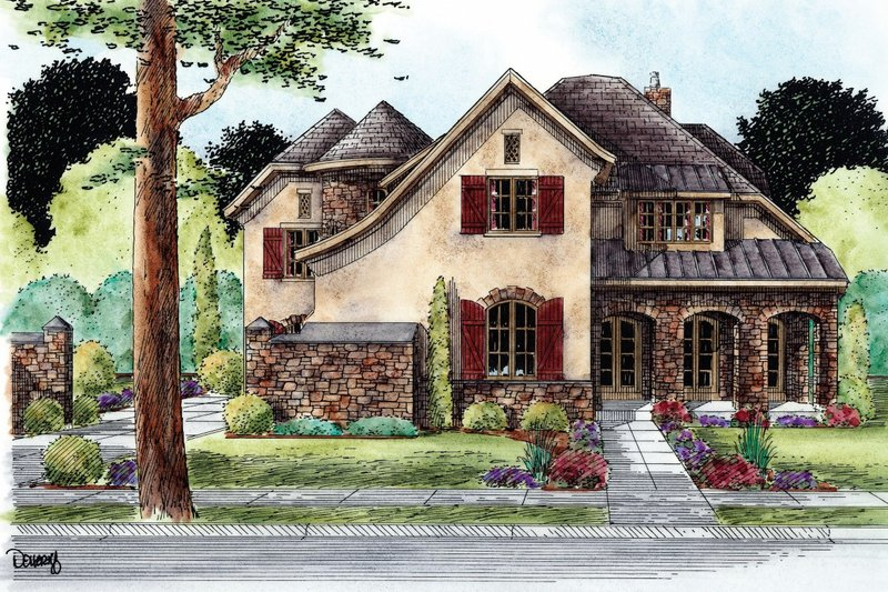 European Exterior - Front Elevation Plan #20-2171