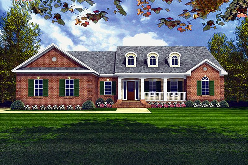Southern Exterior - Front Elevation Plan #21-124 - Houseplans.com