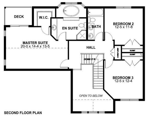 Craftsman Floor Plan - Upper Floor Plan Plan #126-158