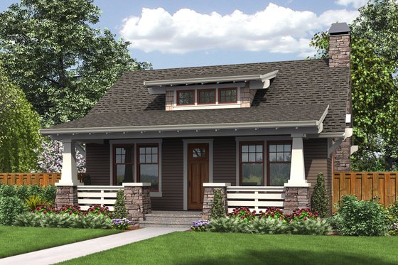 House Blueprint - Bungalow Exterior - Front Elevation Plan #48-666