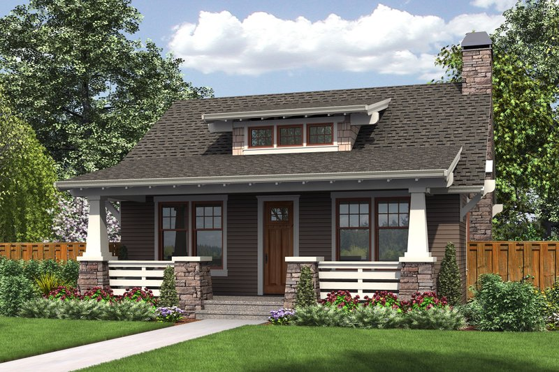 Bungalow Style House Plan - 1 Beds 1 Baths 960 Sq/Ft Plan #48-666 Exterior - Front Elevation
