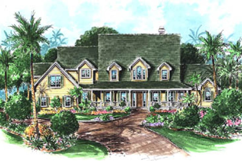 Country Style House Plan - 4 Beds 3.5 Baths 3646 Sq/Ft Plan #27-223 Exterior - Front Elevation