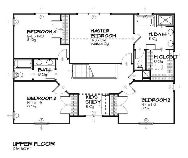 Traditional Floor Plan - Upper Floor Plan Plan #901-85