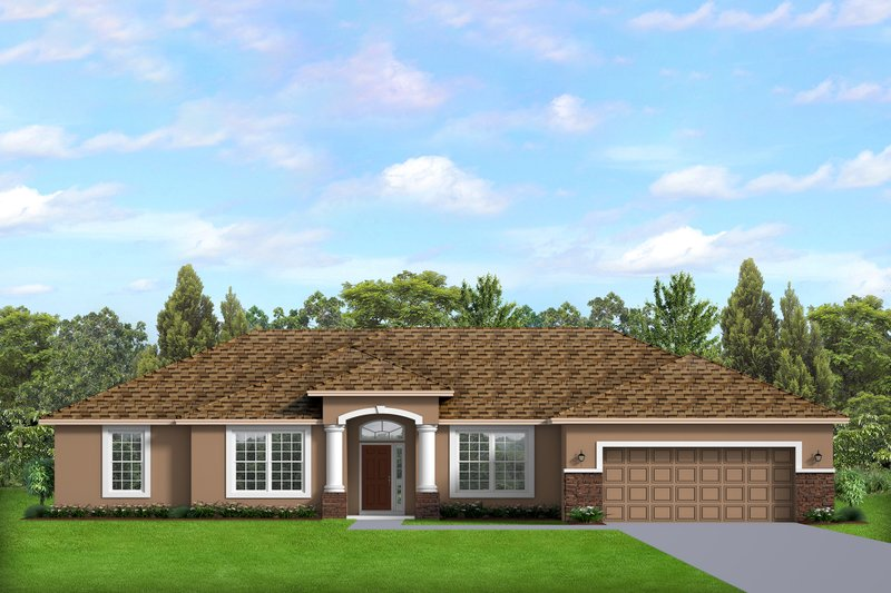 Ranch Style House Plan - 4 Beds 2 Baths 2282 Sq/Ft Plan #1058-192 Exterior - Front Elevation