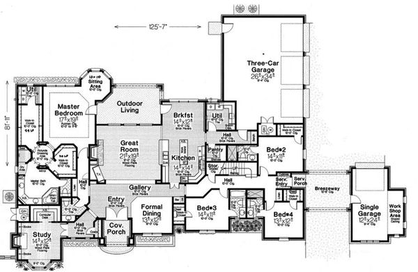 House Plan Design - European Floor Plan - Main Floor Plan #310-1315