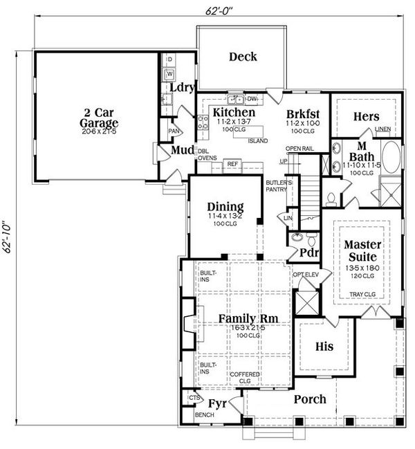 Craftsman Floor Plan - Main Floor Plan Plan #419-265