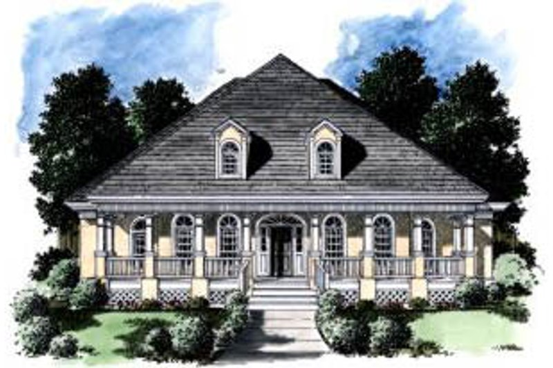 Southern Exterior - Front Elevation Plan #37-195