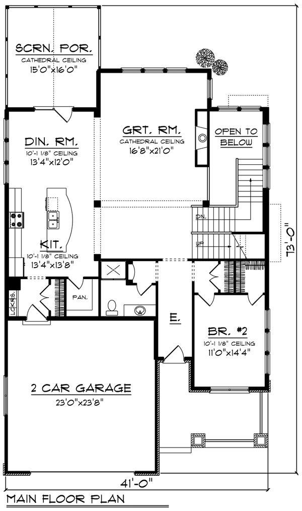 Architectural House Design - Craftsman Floor Plan - Main Floor Plan #70-1204