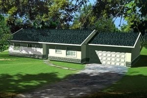 Ranch Exterior - Front Elevation Plan #1-170
