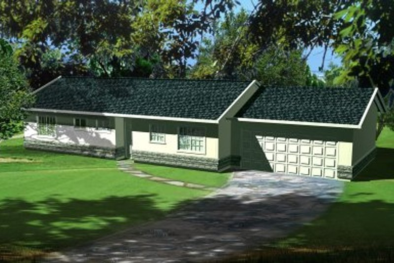 Ranch Style House Plan - 3 Beds 2 Baths 1105 Sq/Ft Plan #1-170 Exterior - Front Elevation